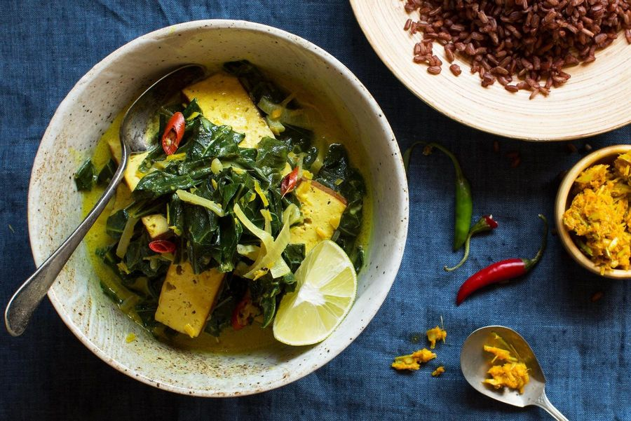 Indonesian curry with braised tofu and collard greens