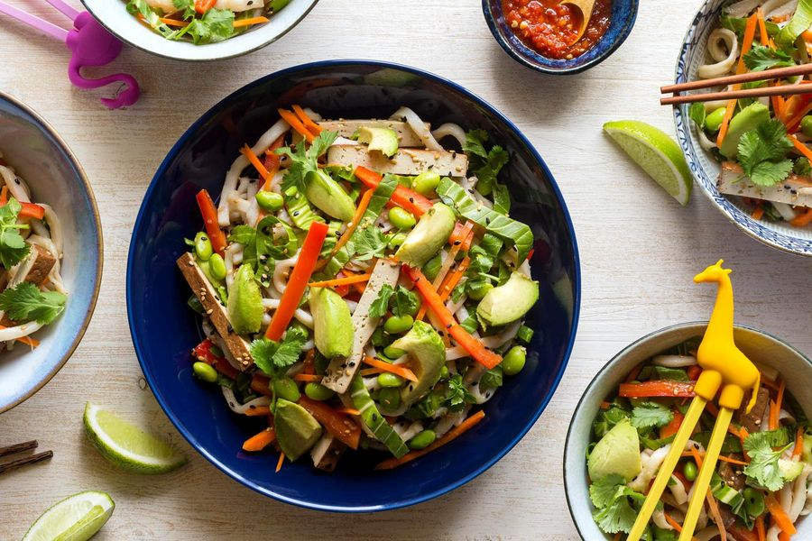 Sesame-udon salad with braised tofu and edamame