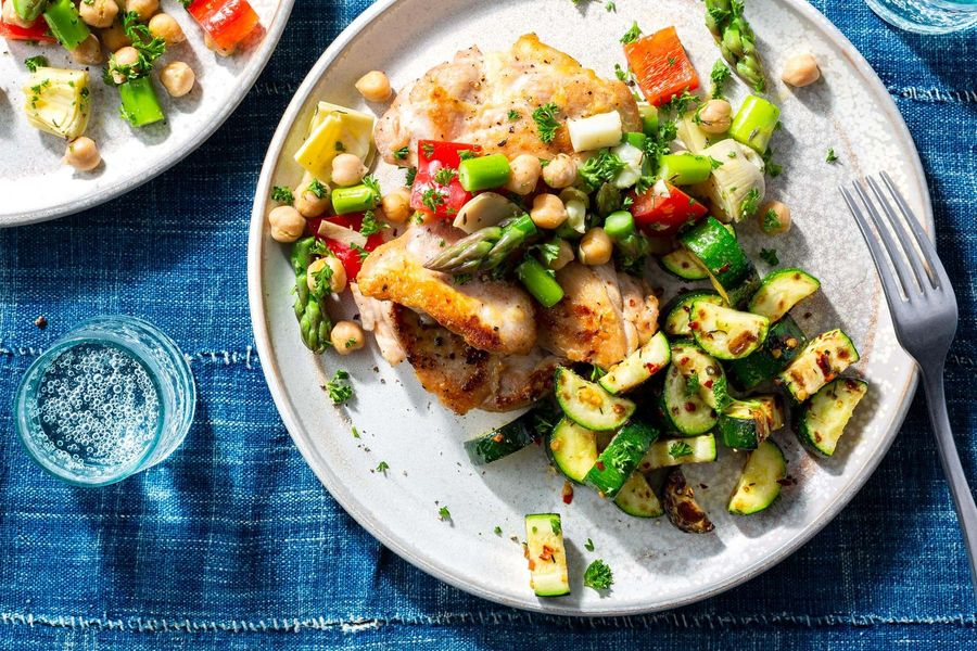 Mediterranean chicken with asparagus salsa and roasted zucchini