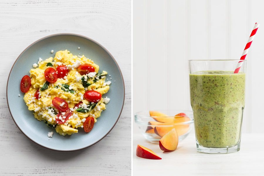 Tomato-feta scramble with basil & Peach-kale smoothies