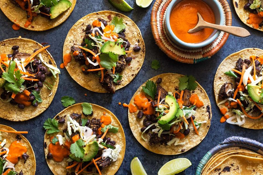 Five-spice black bean and cremini tacos with avocado