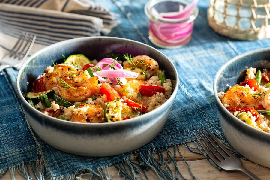 Lemony shrimp and couscous salad with warm vegetables