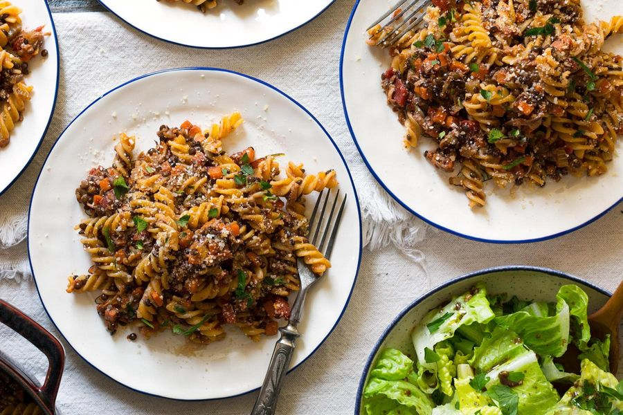 Lentil-mushroom Bolognese with gluten-free fusilli and romaine salad