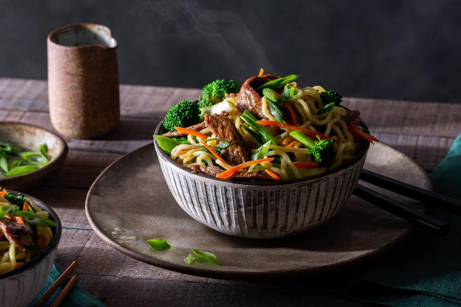 Mongolian beef and vegetable stir-fry with fresh ramen