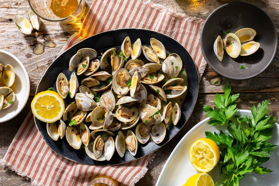 Grilled Clams with Lemon Parsley Butter