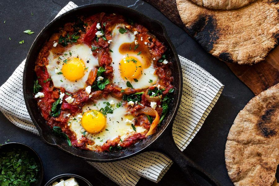 Shakshuka with feta and toasted pita