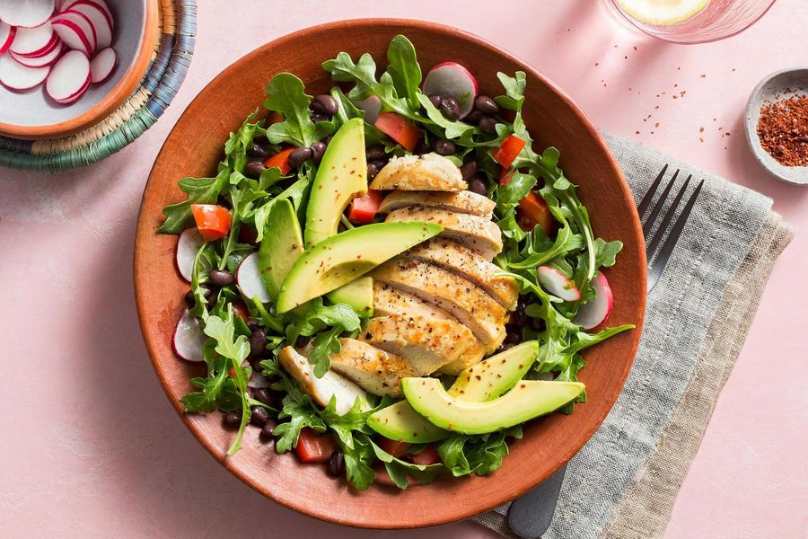 Southwestern chicken salad with black beans and avocado