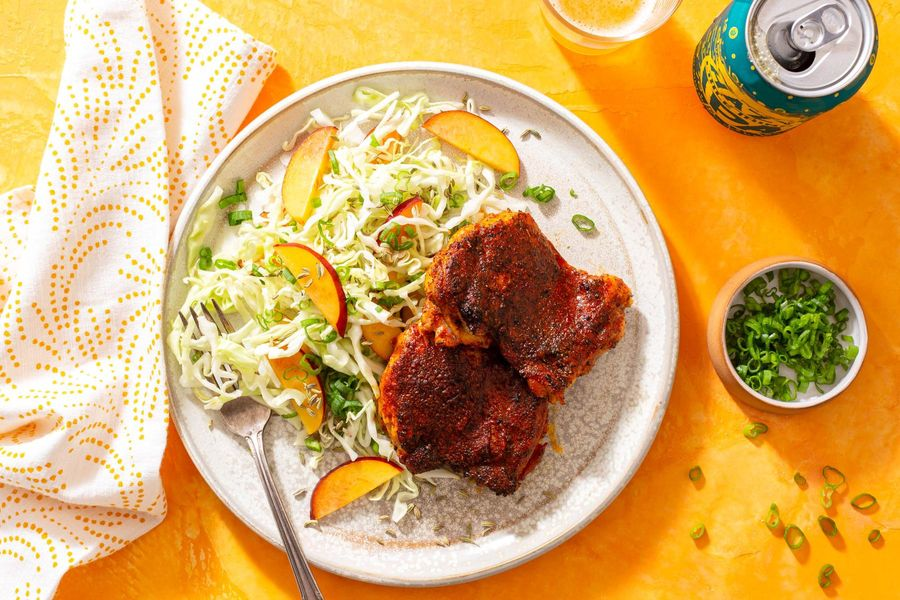 Spicy jerk chicken with gingered nectarine slaw