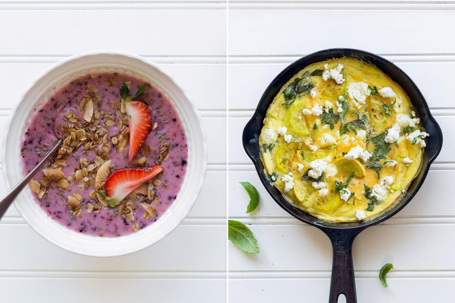 Mixed-berry smoothie bowls & Basil and summer squash frittata