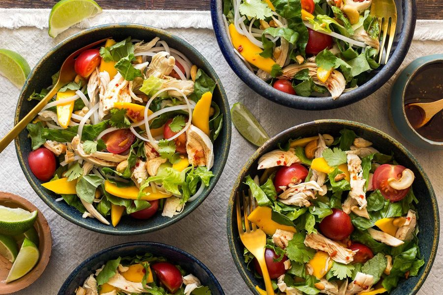 Gingered chicken salad with mango and rice noodles