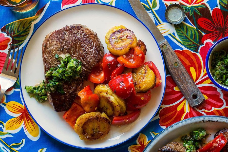 Steaks with kimchi chimichurri and honey-ginger plantain