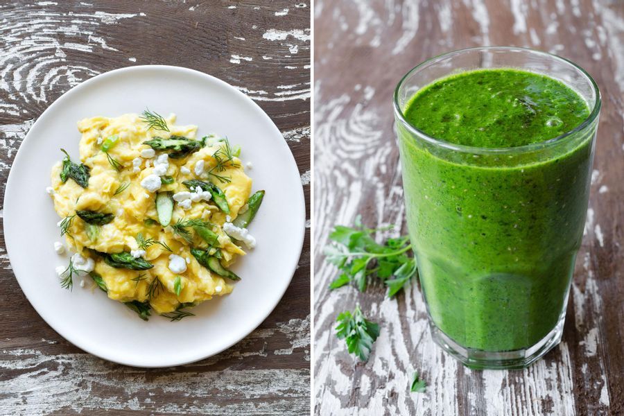 Two breakfasts: Asparagus goat cheese scramble & Kale and mango smoothie