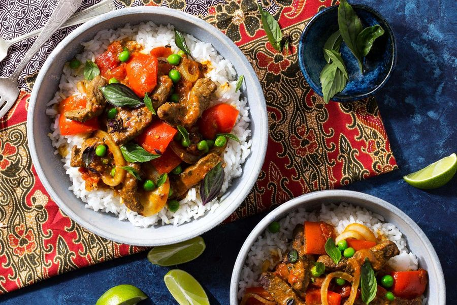 Thai steak panang curry with jasmine rice