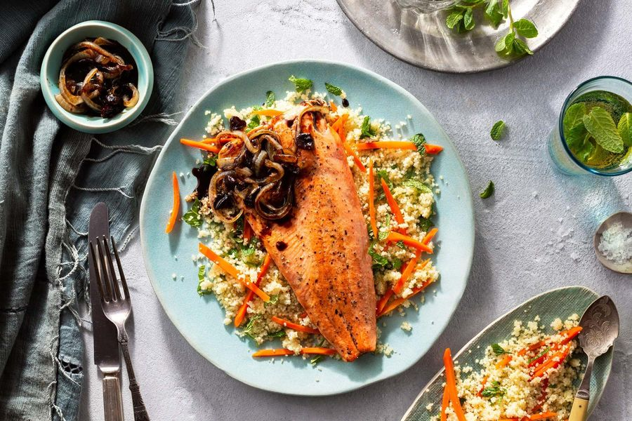 Nowruz sustainably raised trout with tamarind onions and couscous