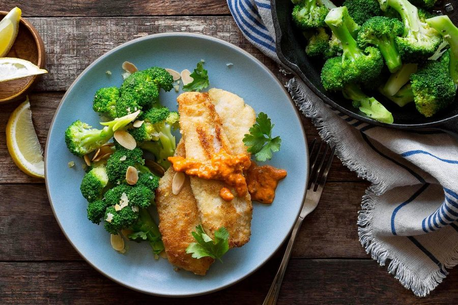 Almond-crusted sole with broccoli and preserved lemon