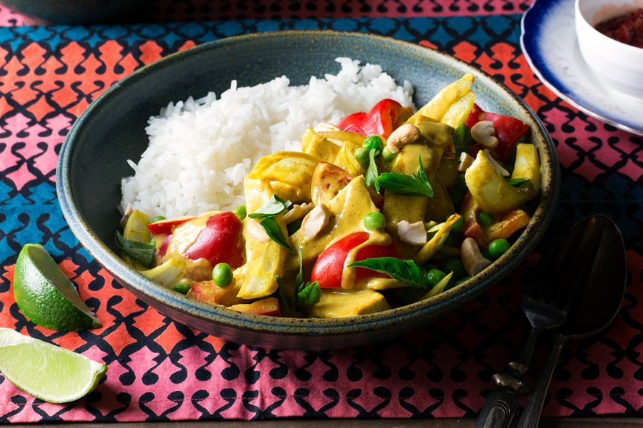 Thai tofu panang curry with jasmine rice