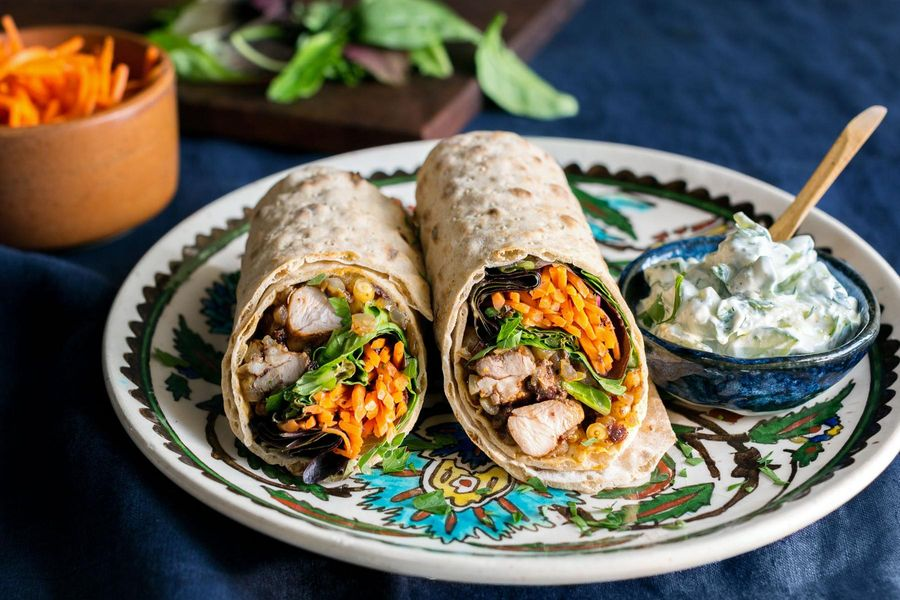 Musakhan chicken wraps with pickled carrots and tzatziki