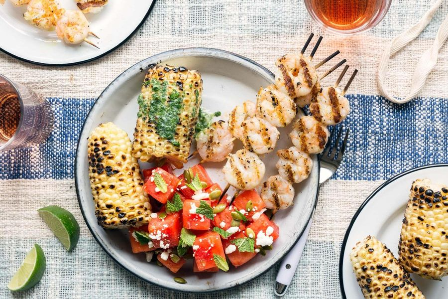 Grilled shrimp and corn with watermelon-feta salad