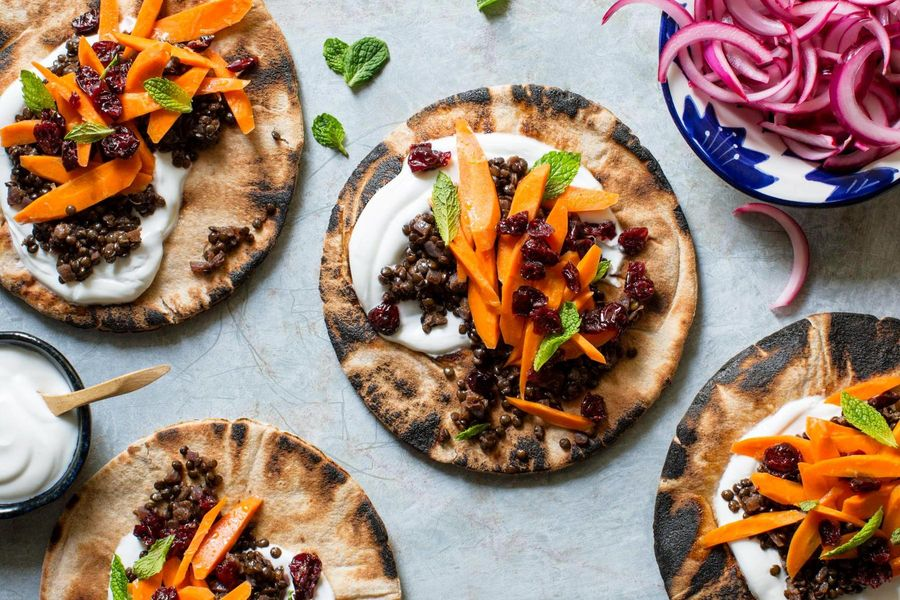 North African black lentil pitas with carrot-cranberry salad