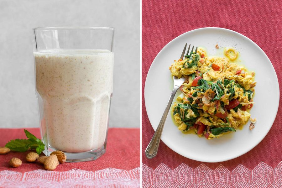 Almond-date shakes with cardamom and mint & Curried scrambled eggs with tomatoes and spinach