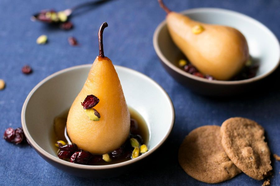 Earl Grey poached pears with dried cranberries