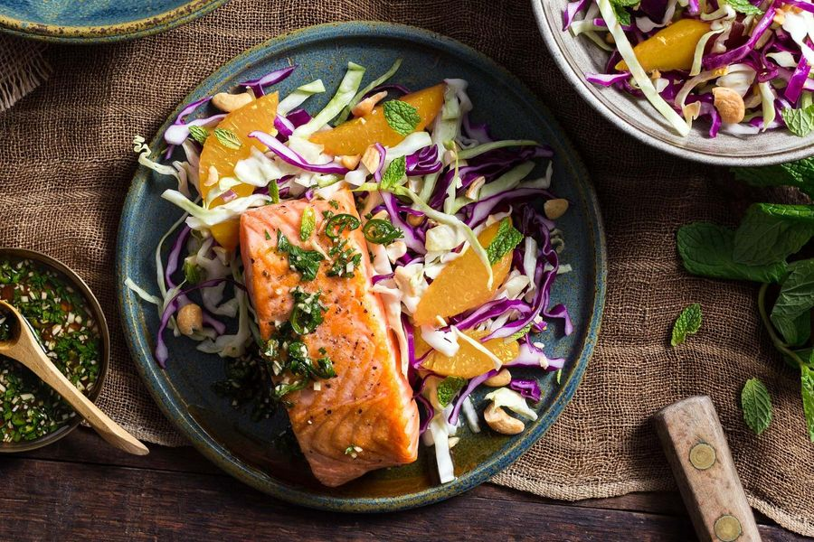 Salmon with chile-lime sauce and citrus-cabbage slaw