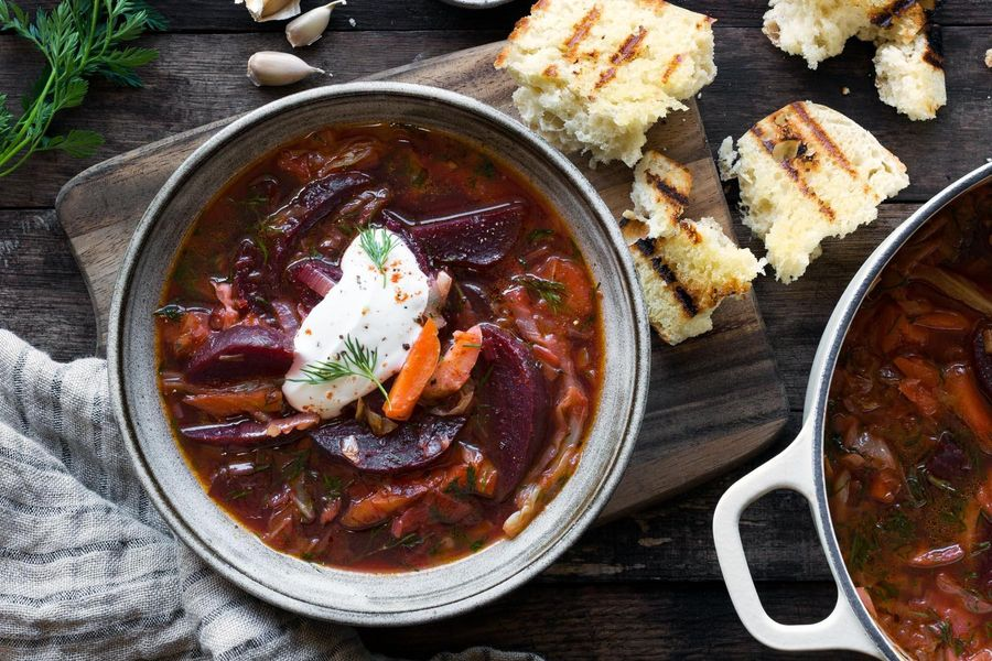 Beet and cabbage borscht with grilled ciabatta