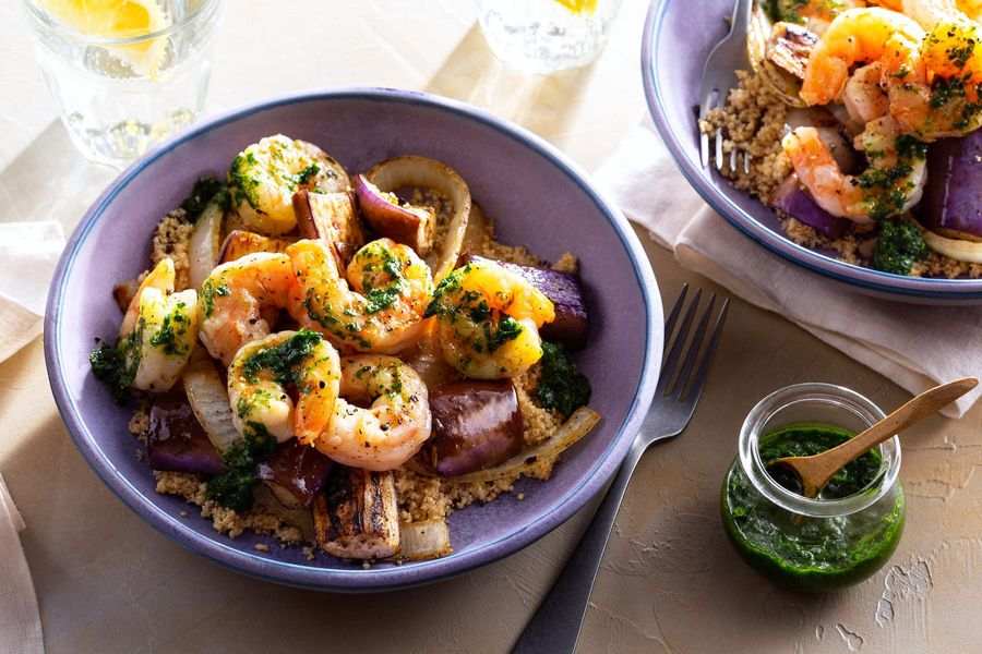 Roasted shrimp and eggplant with mint couscous and spicy green harissa