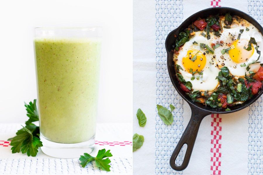 Two Breakfasts: Mango-parsley smoothies & Skillet-baked eggs with chard and basil