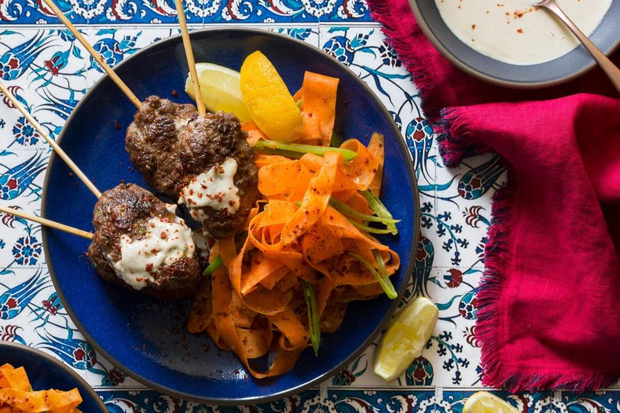 Middle Eastern turkey kebabs with carrot-snap pea salad