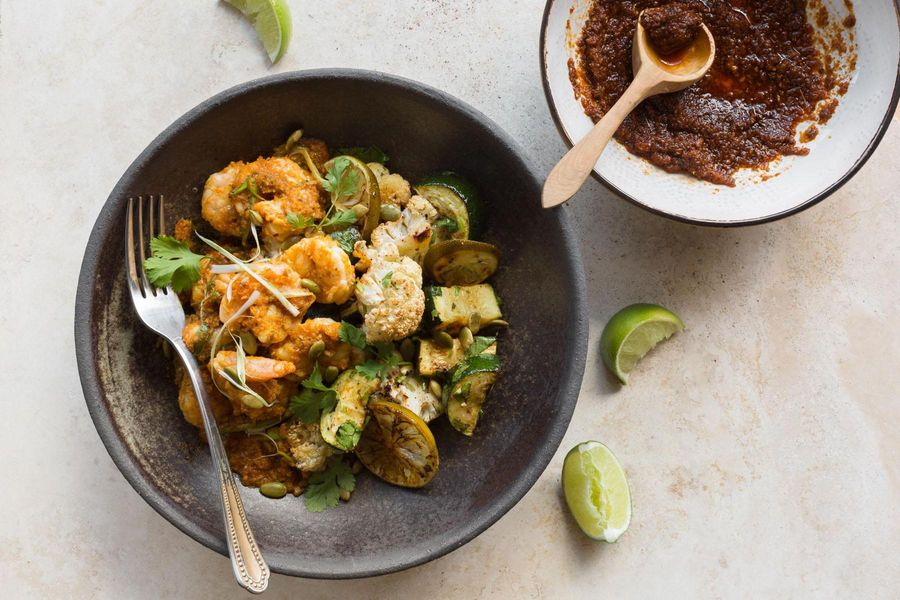 Cuban shrimp mojo with lime-roasted vegetables