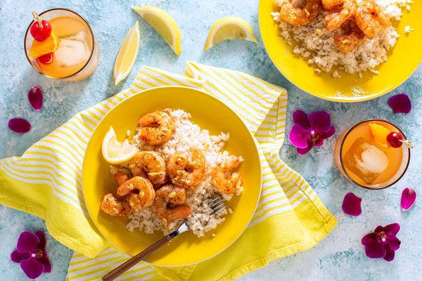 Hawaiian garlic shrimp with coconut rice