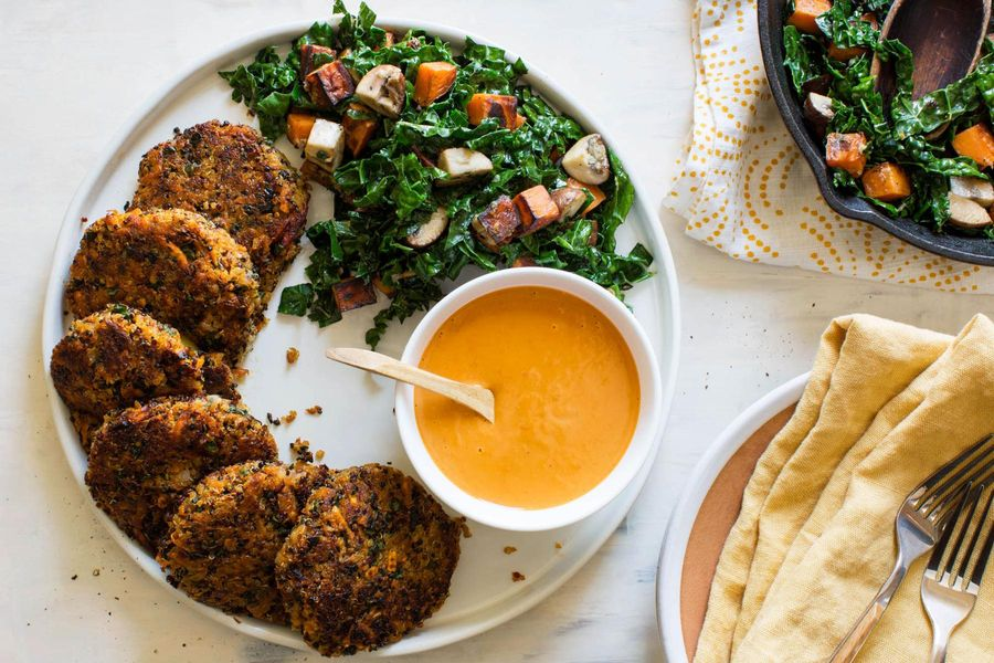 Quinoa and kale fritters with sweet potato–mushroom hash