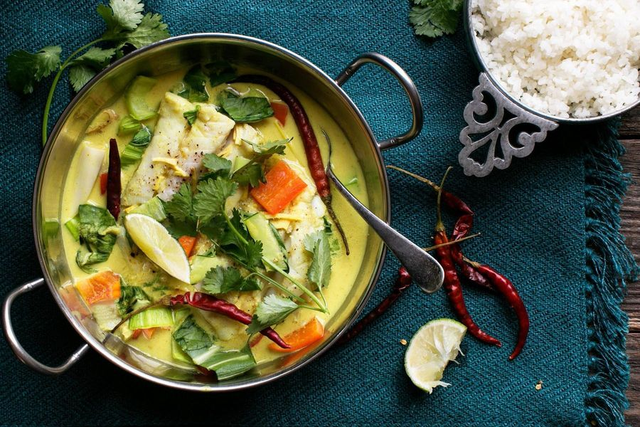 Pacific cod curry with lemongrass and broken rice