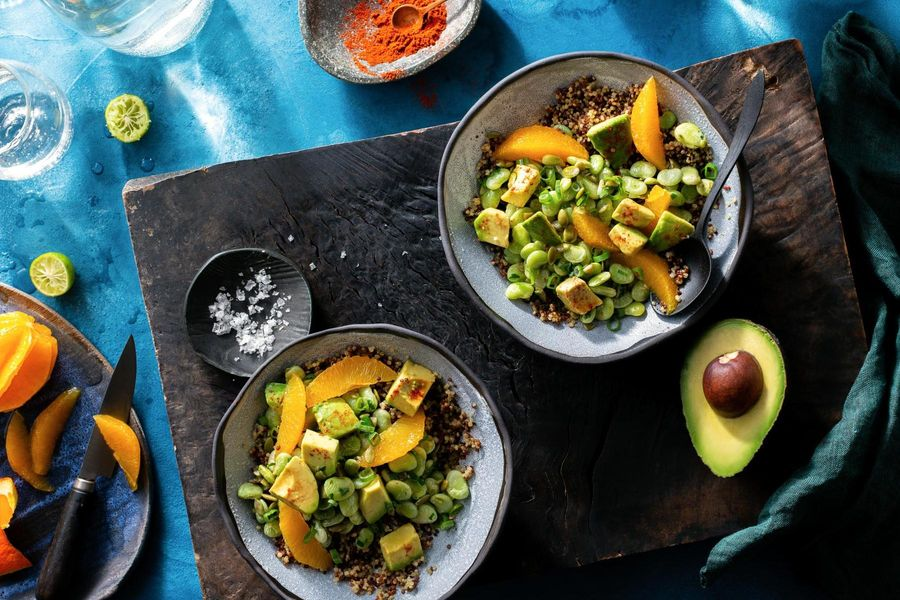 Tok-sel lima bean and quinoa bowls with avocado and orange