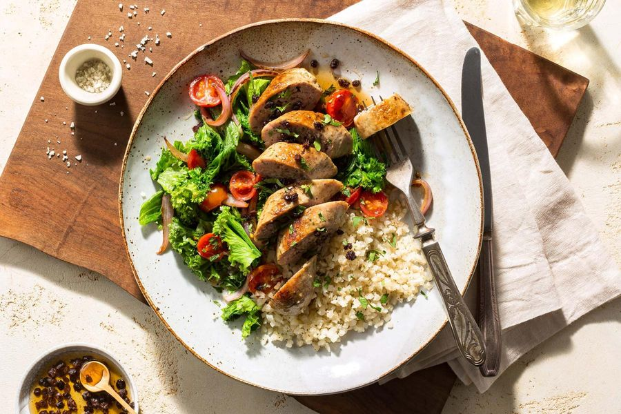 Italian sausages with tangy currant mostarda and wilted greens