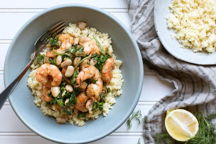 Shrimp couscous with white beans, baby arugula and meyer lemon
