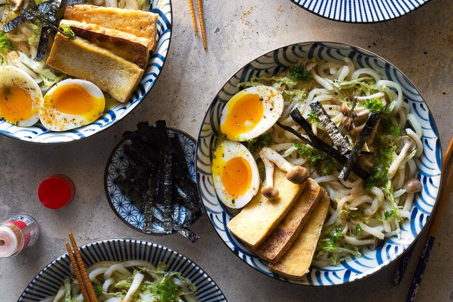 Udon soup with tofu, dashi, and soft-cooked eggs