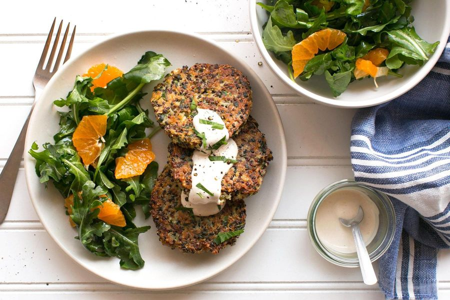 Quinoa fritters with arugula-tangerine salad