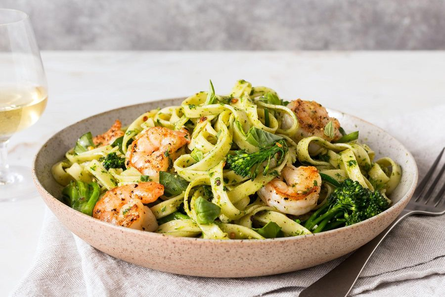 Shrimp fettuccine with broccoli and parsley-pecan pesto
