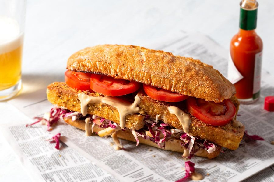 New Orleans po'boys with cornmeal-crusted tofu and apple slaw