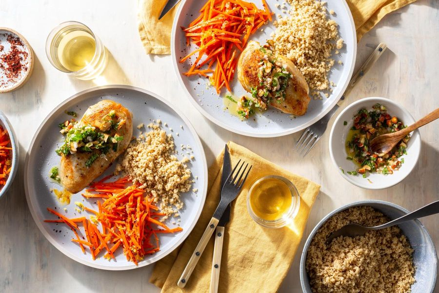 Pan-seared chicken and carrots with mint pesto and couscous