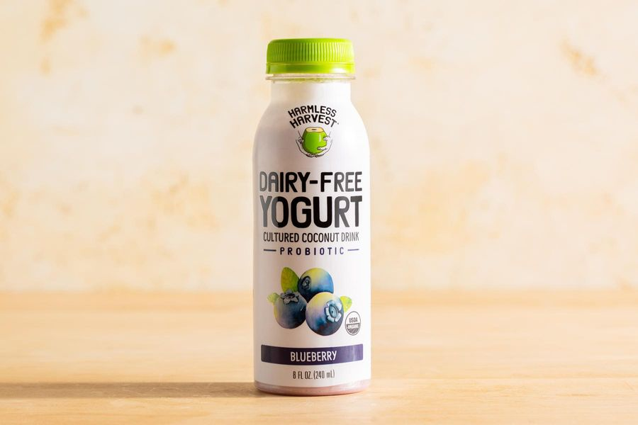 Organic dairy-free blueberry cultured coconut yogurt drink