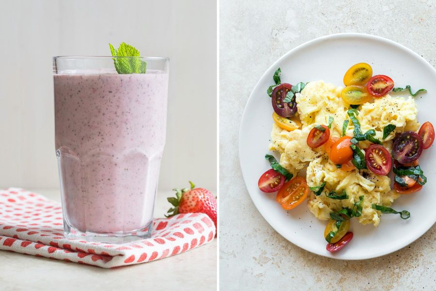 Strawberry-mint smoothies & Eggs with tomato-basil salsa