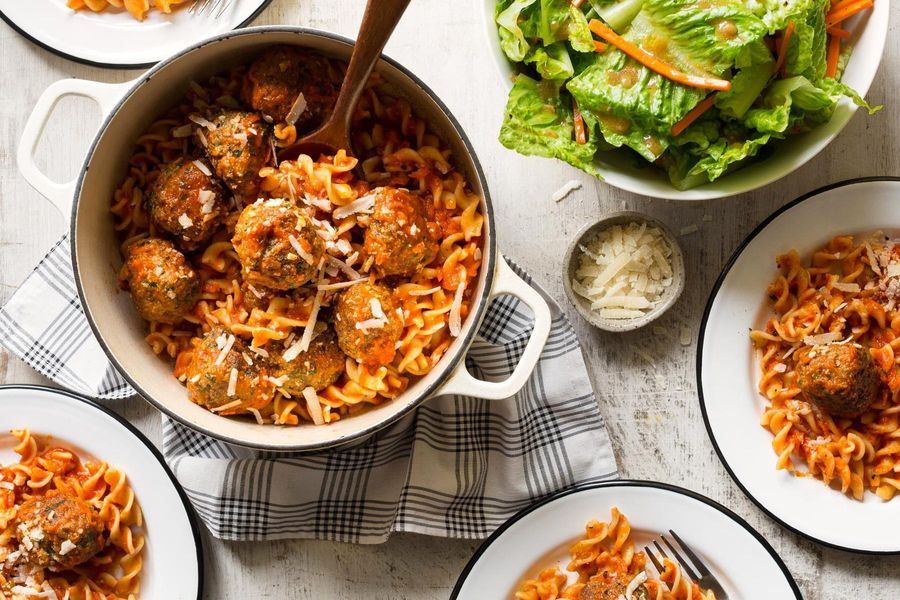 Turkey-spinach meatballs with corkscrew pasta and romaine salad