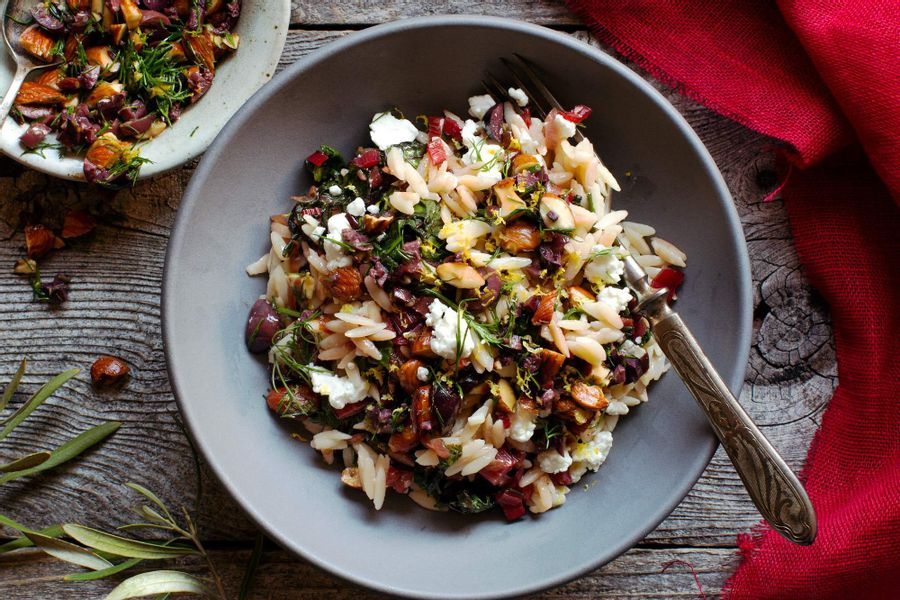Sun Basket: Orzo with Swiss chard and olive-almond relish