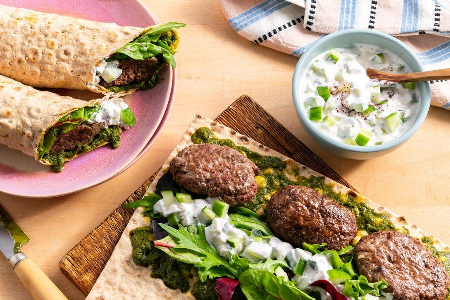 Marrakech lamb wraps with spicy green harissa and cucumber yogurt