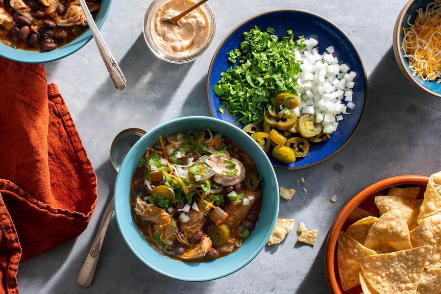 Chicken and black bean tortilla soup with chipotle yogurt