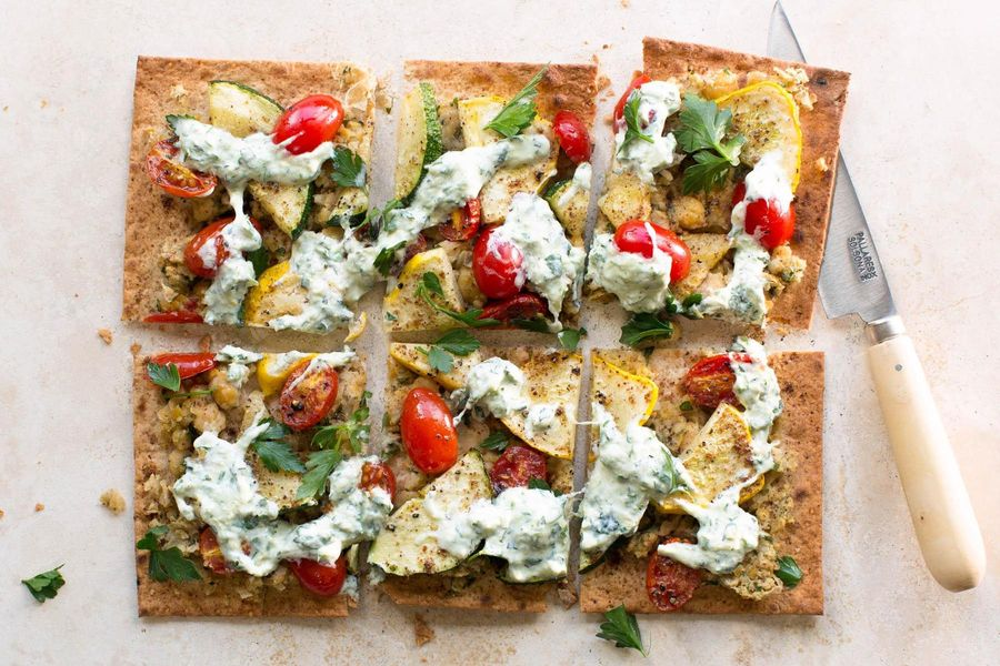 Summer flatbreads with herbed Greek yogurt