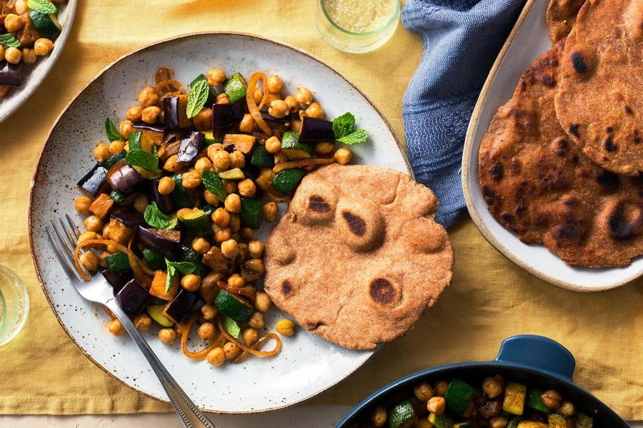 Eggplant and chickpea ratatouille with homemade flatbreads